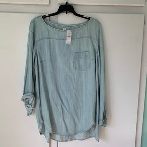LOFT softened shirt in light wash chambray